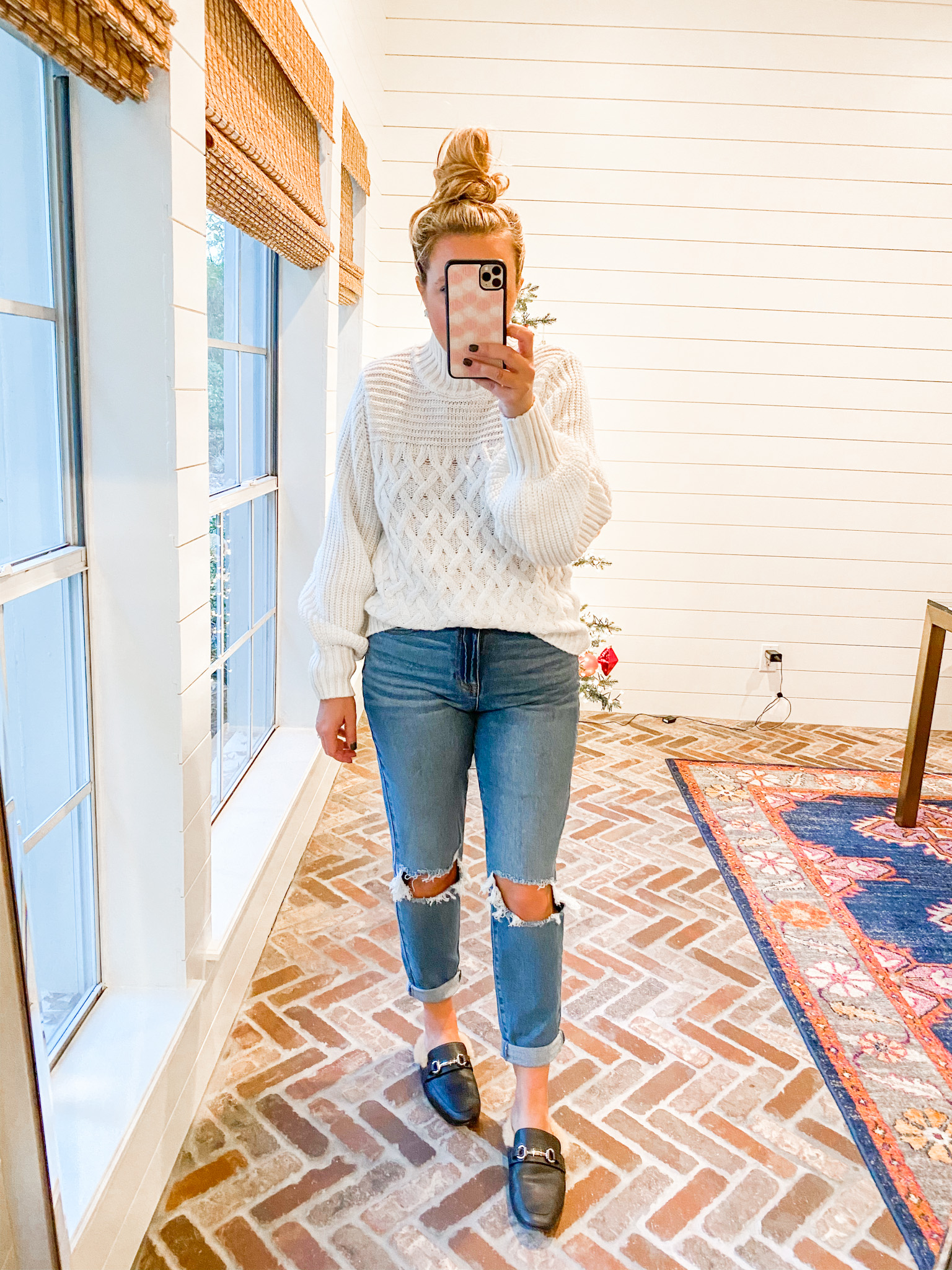 Walmart Womens Clothes by popular Houston fashion blog, Fancy Ashley: image of a woman wearing a Walmart Scoop Scoop Women's Cable Knit Turtleneck Sweater, faux fur lined black mules, and Walmart No Boundaries Juniors' Mom Jeans.