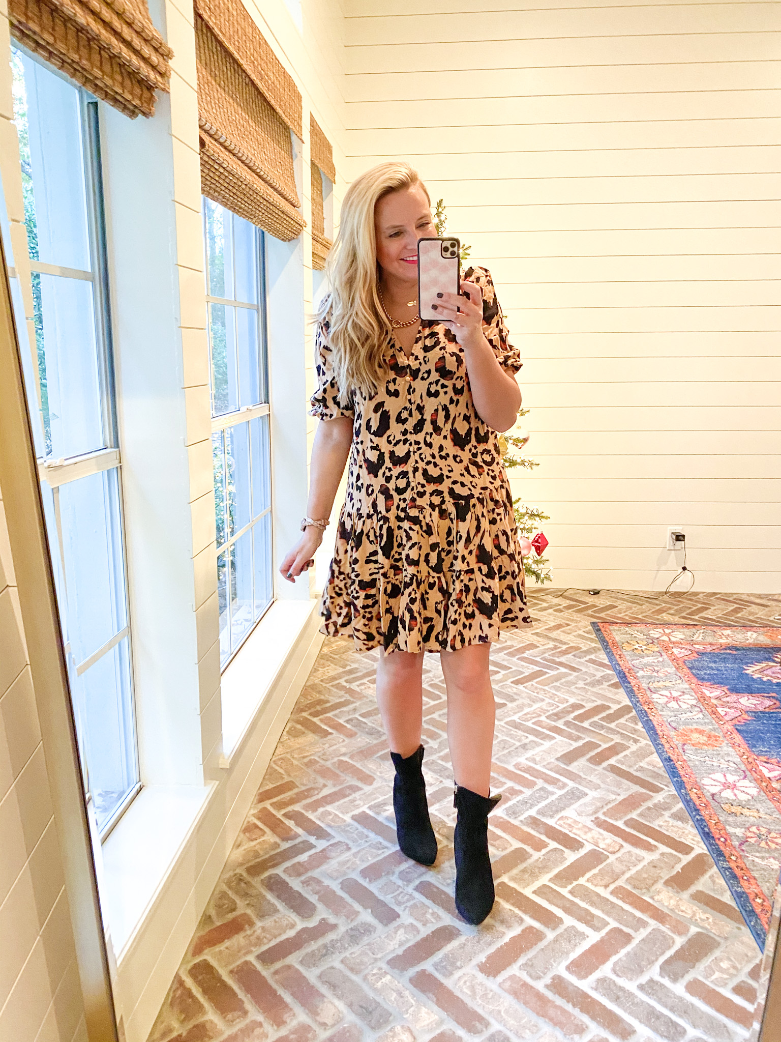 Walmart Womens Clothes by popular Houston fashion blog, Fancy Ashley: image of a woman wearing a Walmart Scoop Women's Printed Tiered Dress and Walmart Scoop black suede booties.