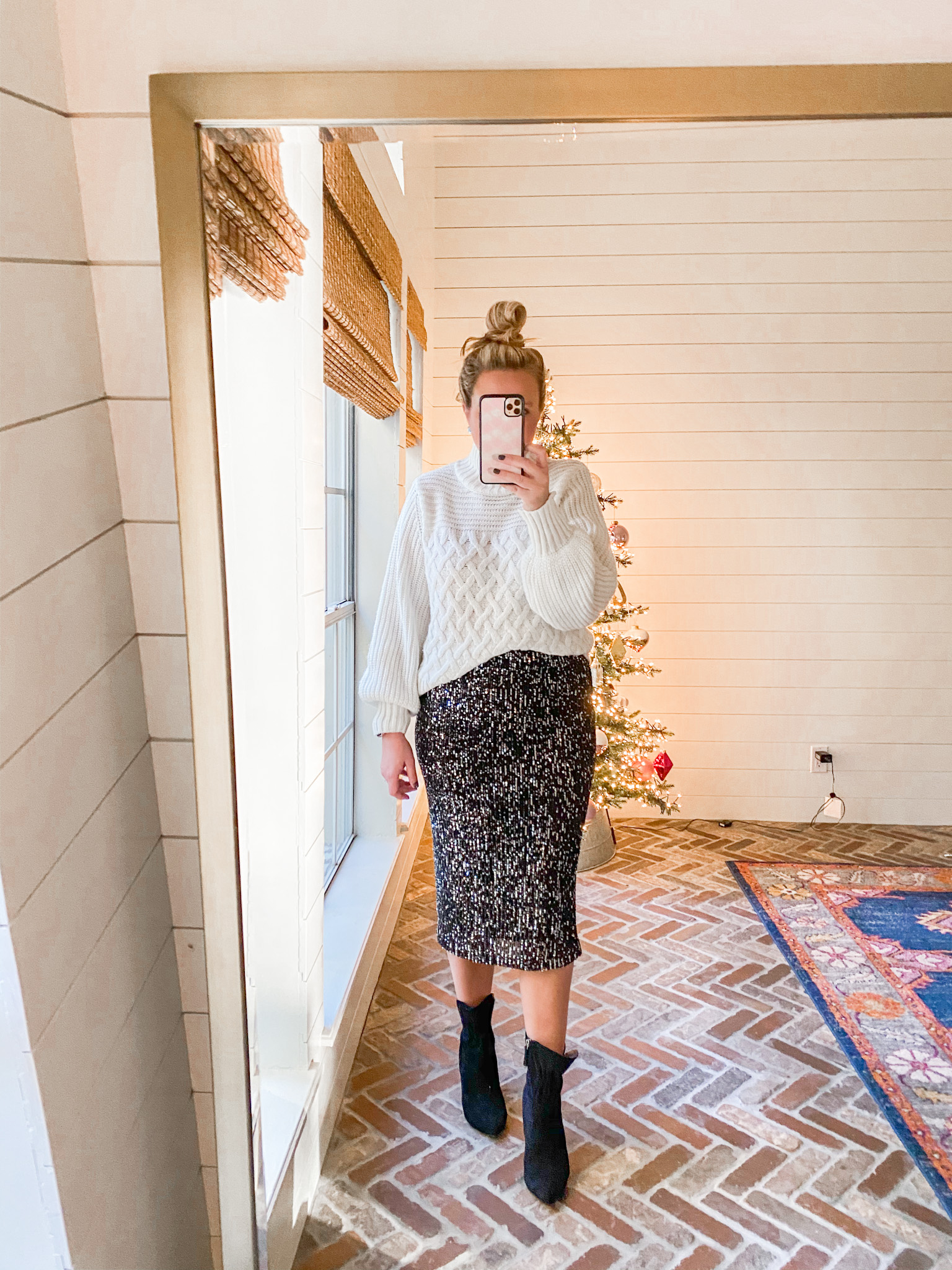 Walmart Womens Clothes by popular Houston fashion blog, Fancy Ashley: image of a woman wearing a Walmart Time and Tru Women's Chenille Sweater Walmart Scoop Sequin skirt, and Walmart Scoop black suede booties.