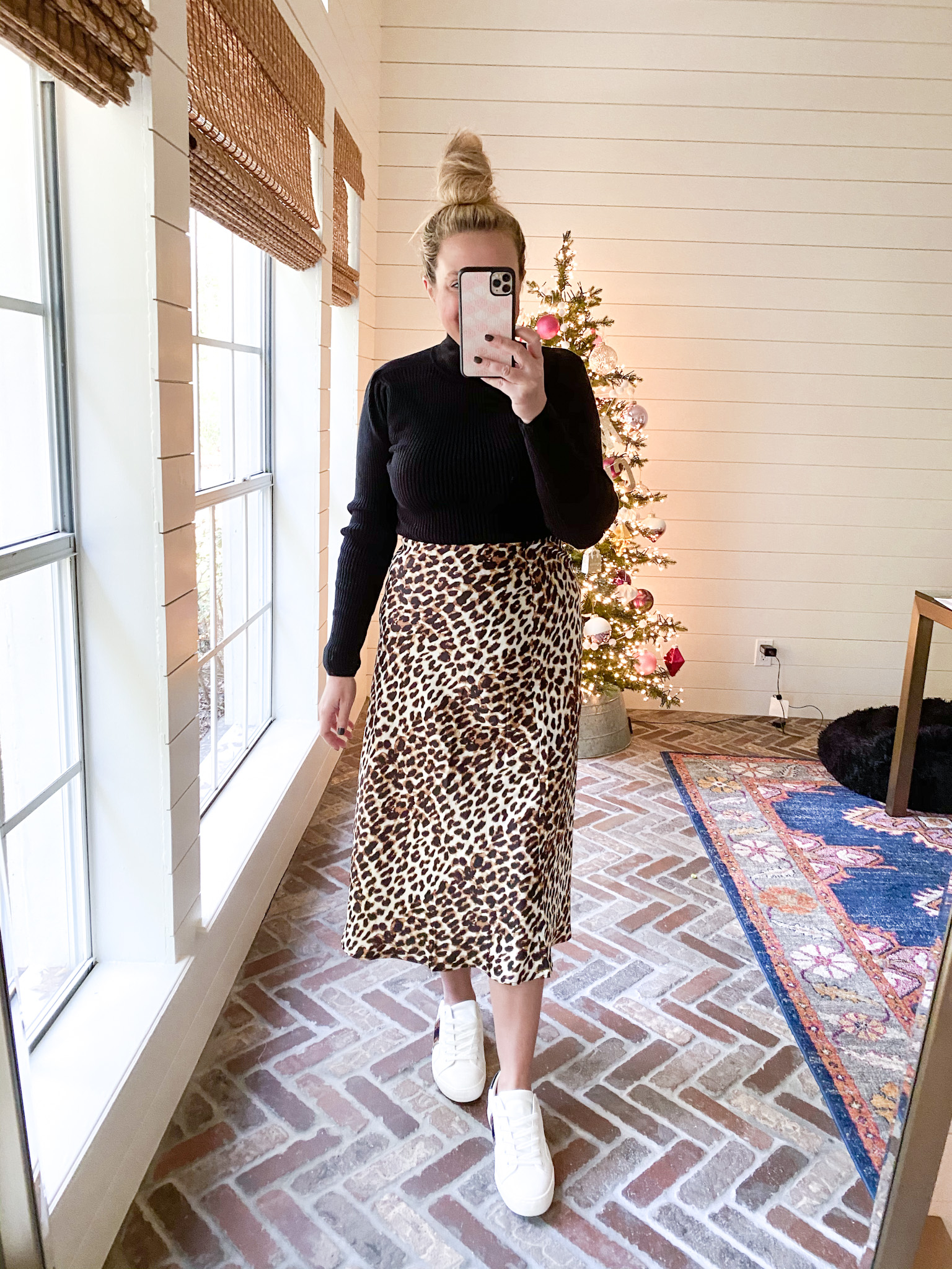 Walmart Womens Clothes by popular Houston fashion blog, Fancy Ashley: image of a woman wearing a Walmart Scoop Women's Mock Neck Top with Ruched Sleeves, Walmart Scoop Women's Printed Midi Slip Skirt and Walmart white sneakers.