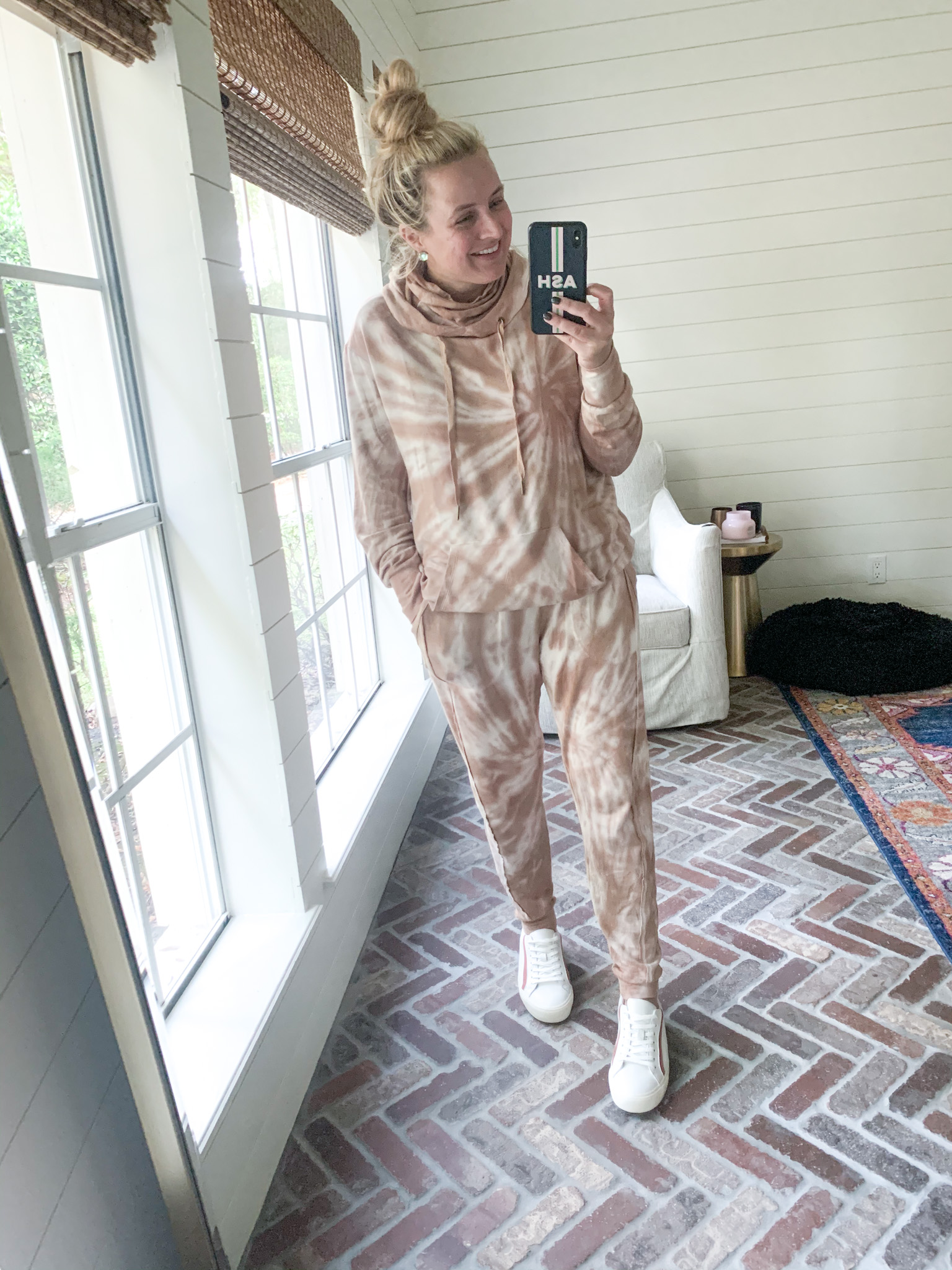 Walmart Womens Clothes by popular Houston fashion blog, Fancy Ashley: image of a woman wearing a Walmart Scoop Women's tie dye French Terry Hoodie and Scoop Women's tie dye Joggers with Front Seaming.