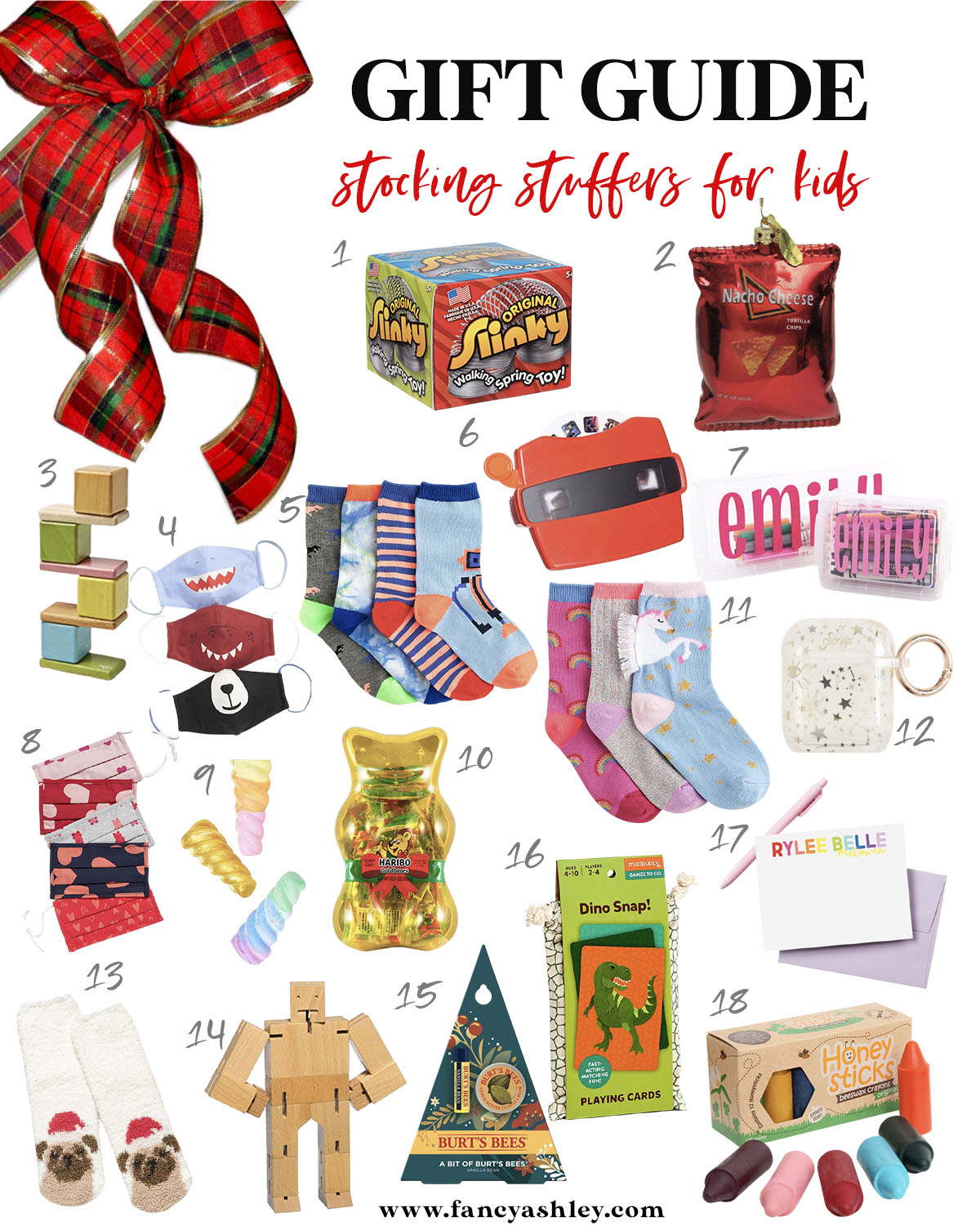 Kids Stocking Stuffers by popular Houston life and style blog, Fancy Ashley: collage image of animal mouth face masks, slinky, view finder, Doritos chips, unicorn sock set, air pods case, jumbo crayons, puppy socks, Dino Snap card game, personalized stationary, personalized penicil case, cuebot micro, animal print face masks, and Burts bees lip set.