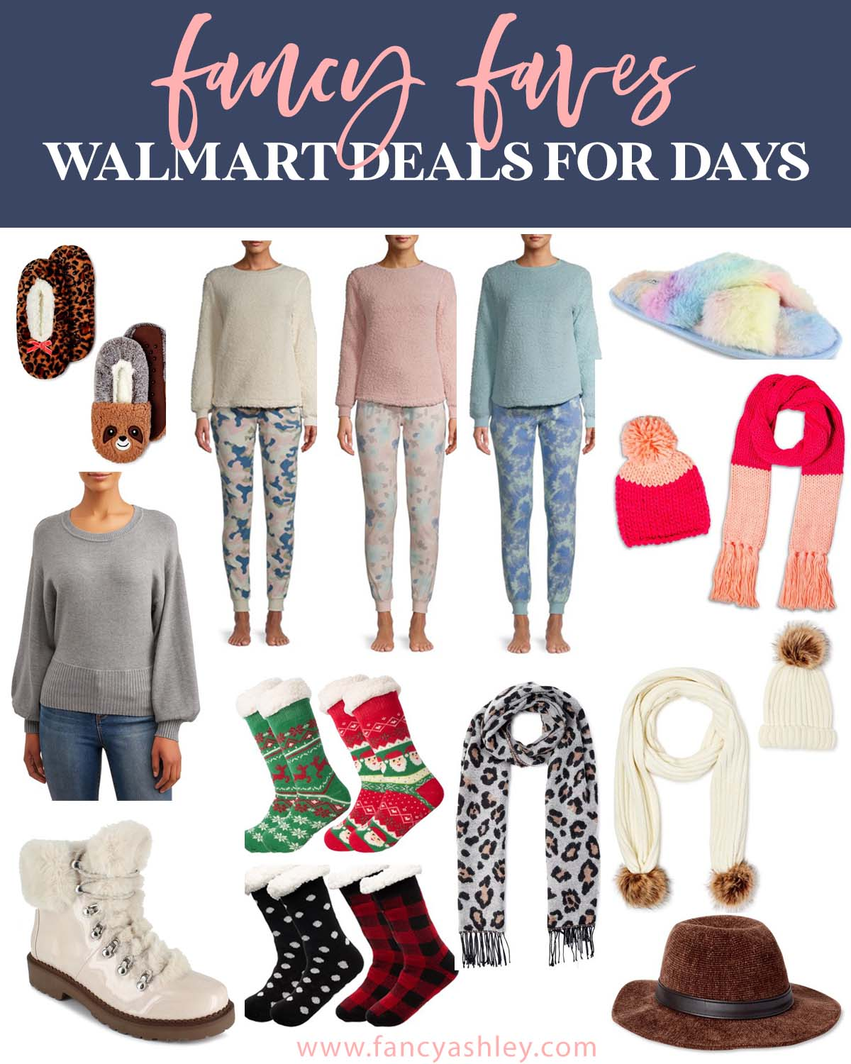 Black Friday Sales by popular Houston life and style blog, Fancy Ashley: collage image of Walmart clothing and accessories.