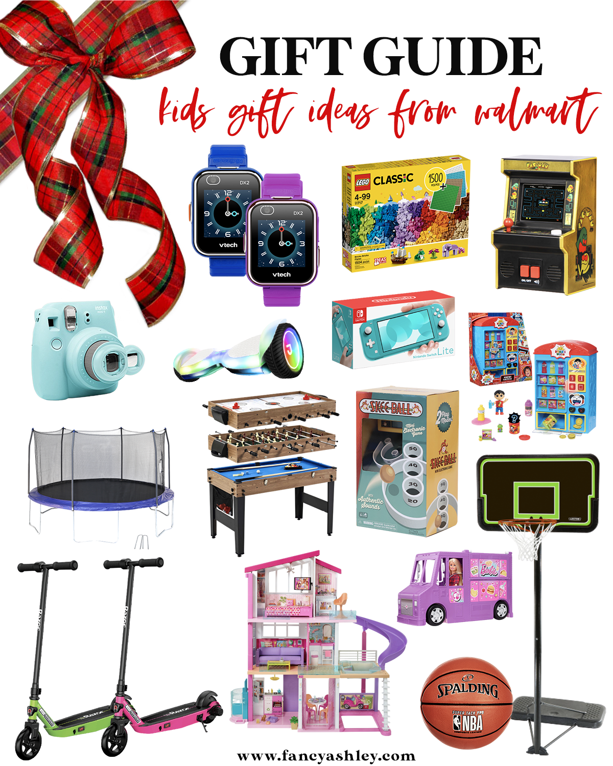 Walmart Gift Ideas by popular Houston life and style blog, Fancy Ashley: collage image of a vtech watches, game table, trampoline, razor scooter, instax camera, basketball and basketball hoop, mini arcade game, legos, nintento, skee ball, Barbie house, Barbie food truck, and a hover board.