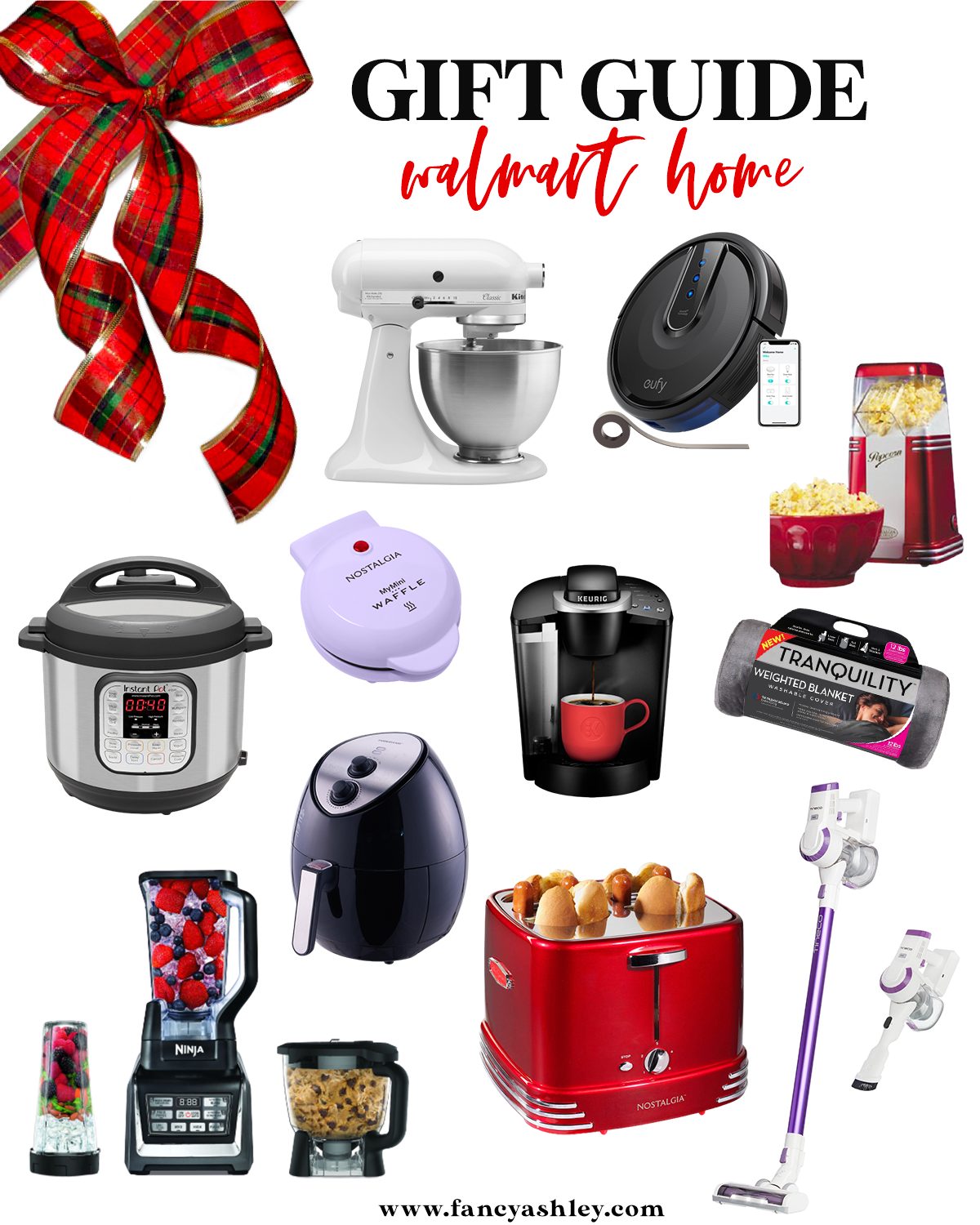 Walmart Gift Ideas by popular Houston life and style blog, Fancy Ashley: collage image of a roomba vacuum, Insta Pot, mini waffle iron, hot dog and bun toaster, Ninja blender, Tranquility weighted blanket, coffee maker, popcorn popping machine, white Kitchen aid, air fryer and stick vac.