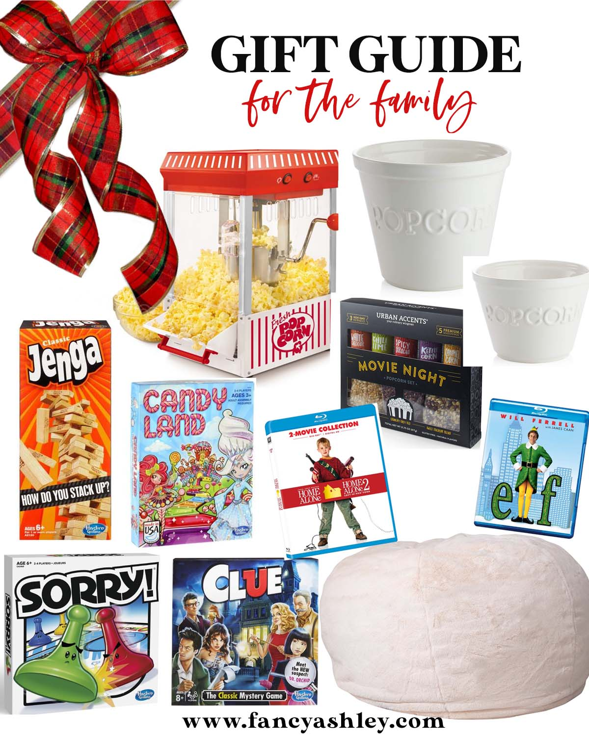 Family Gift Ideas by popular Houston life and style blog, Fancy Ashley: collage image of a popcorn popper, ceramic popcorn bowls, Jenga, Candy Land, Home ALone 2 DVD, Elf DVD, Sorry board game, CLue board game, Movie night snack set, and bean bag.