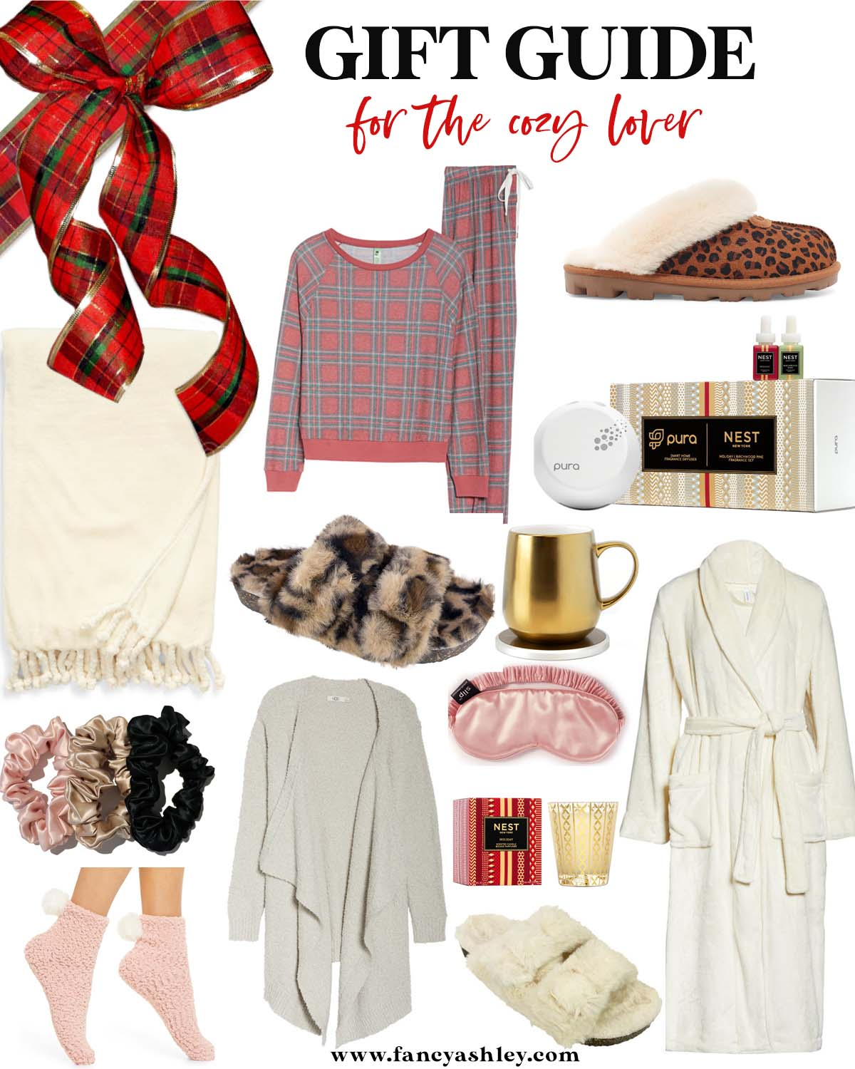Cozy Gifts by popular Houston life and style blog, Fancy Ashley: collage image of plaid pajamas, cream color rob, grey cardigan, pink silk sleep mask, leopard print UGG slippers, Nest spray, gold mug and mug warmer, cream blanket, Nest candle, silk scrunchies, pink fuzzy socks, and fuzzy slipper sandals.