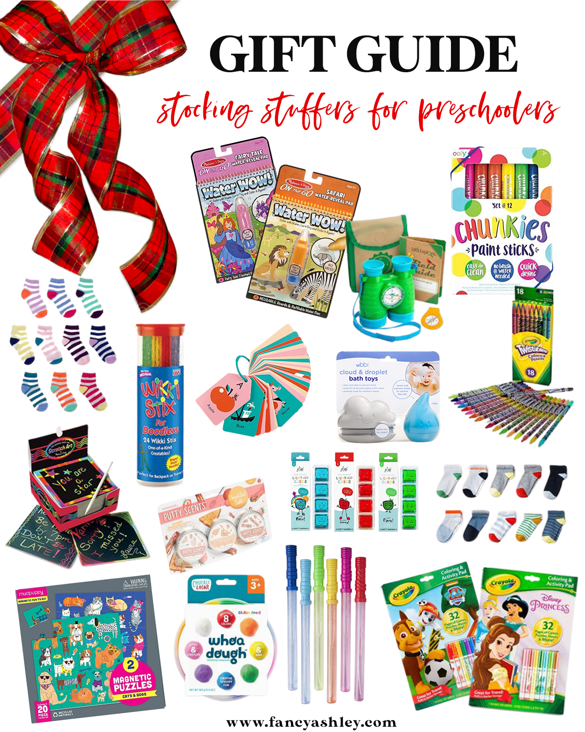 Stocking Stuffer Ideas by popular Houston lifestyle blog, Fancy Ashley: collage image of water wow fairy village, water wow safari, Binoculars and Compass play set, chunkies paint sticks, Girls socks, Wikki Stix, ABC flash cards, raindrop and cloud bath toys, Twistables scratch art notepads, Scented putty, Light up cubes, Boys Socks, Magnetic Puzzles, Whoa Dough, Bubble wands, Paw Patrol coloring and activity pad, Disney Princess Coloring and Activity Pad.