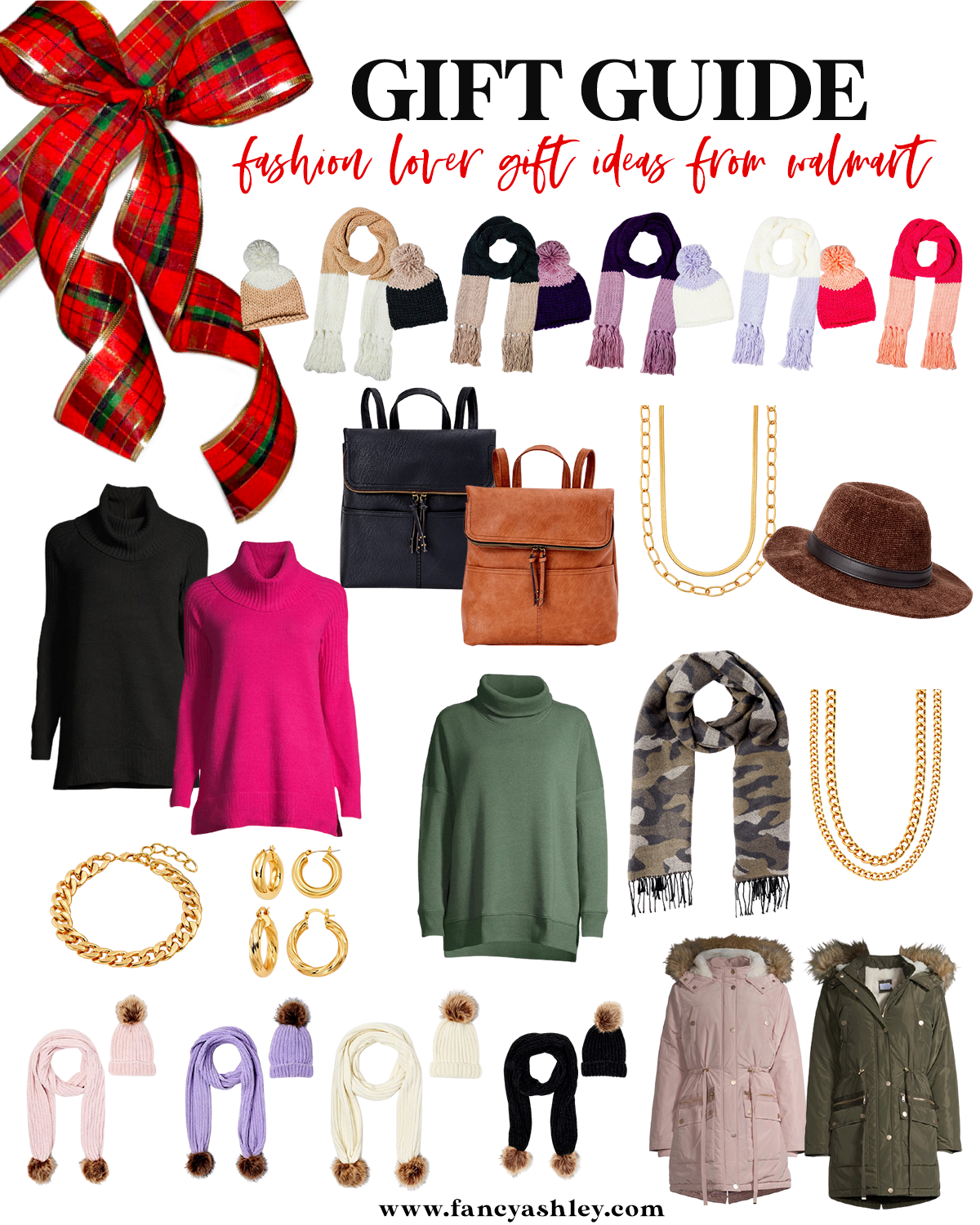Walmart Gift Ideas by popular Houston life and style blog, Fancy Ashley: collage image of a turtle neck sweaters, camo scarf, fedora hat, suede and faux leather backpacks, coats, matching scarf and beanie set, gold chain necklace, gold chain bracelet, and gold hoop earrings.