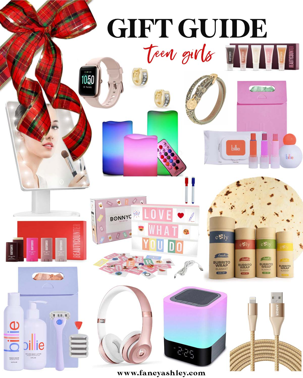 Teenage Girl Gift Ideas by popular Houston life and style blog, Fancy Ashley: collage image of a SMARTWATCH, EARRINGS, BRACELET, JELLY GLOSSES, MIRROR, LED COLOR CANDLES, MAKEUP REMOVER WIPES, LIP BALM, DRY SHAMPOO SET, MINI DEODORANT SET, LIGHTBOX, BURRITO BLANKET, BILLIE RAZOR SET, BEATS HEADPHONES, CLOCK, and LONG CHARGING CORD.