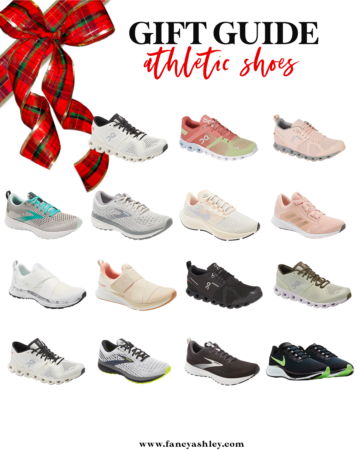On Cloud Running Shoes by popular Houston fashion blog, Fancy Ashley: collage image of athletic shoes.