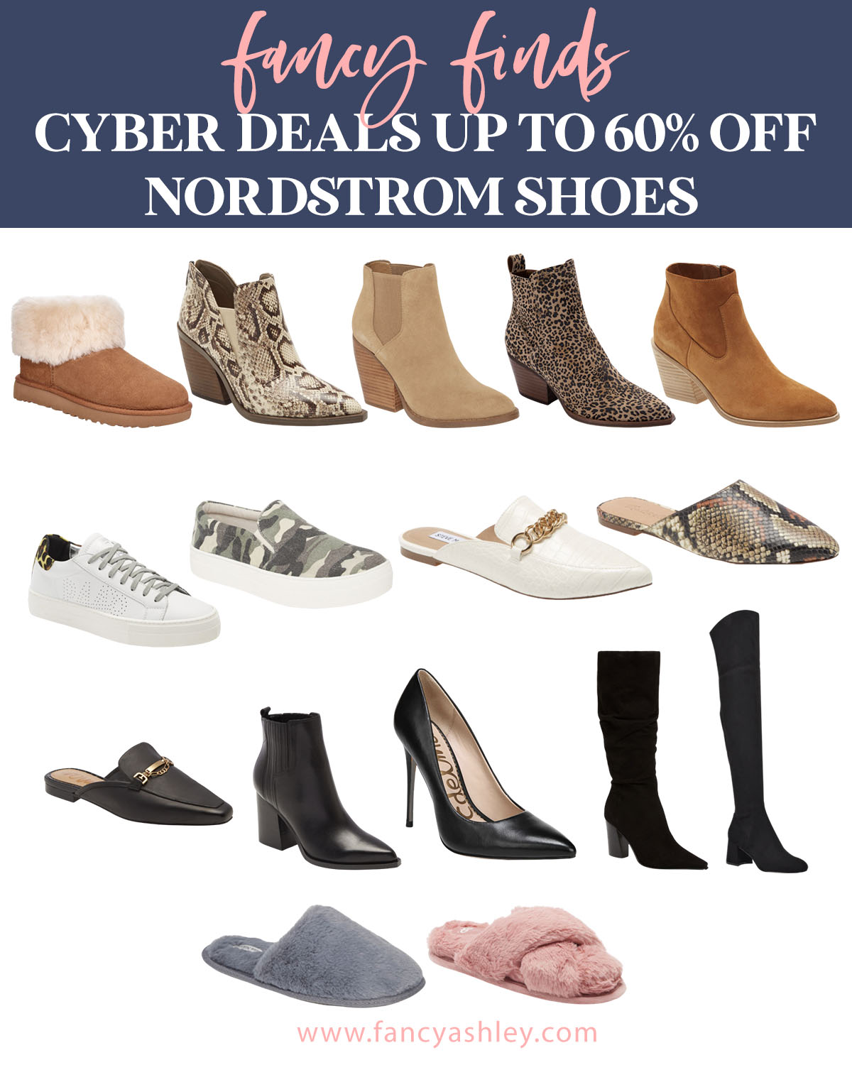 Black Friday Sales by popular Houston life and style blog, Fancy Ashley: collage image of Nordstrom ankle boots, sneakers, knee high boots, mules and slippers.