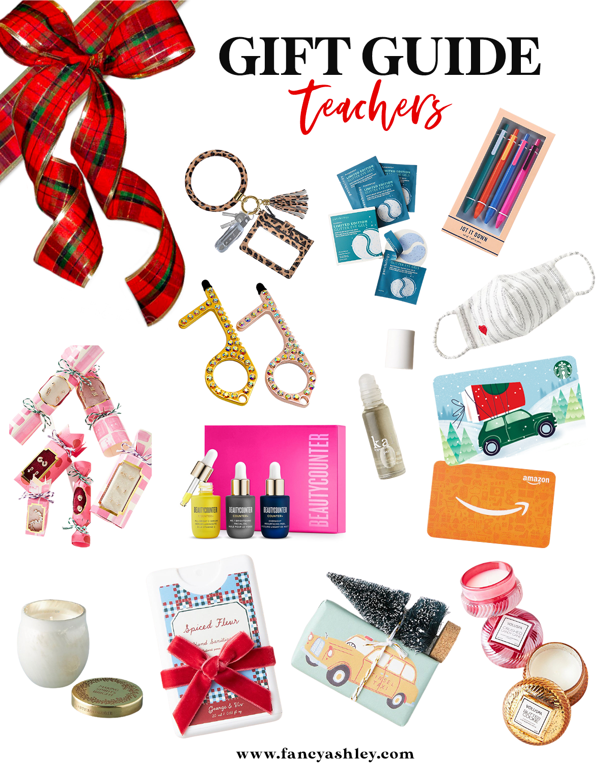 Teacher Gift Ideas by popular Houston life and style blog, Fancy Ashley: colage image of a candle, Amazon gift card, Starbucks gift card, face mask, key ring, pens, silicone eye patches, hand sanitizer trio, cracker box earrings, no touch key ring, and mini beauty counter set.