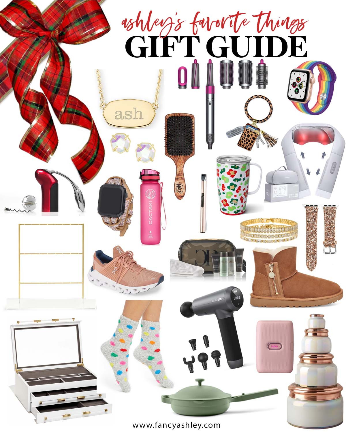Favorite Things Gift Ideas by popular Houston life and style blog, Fancy Ashley: collage image of personalized necklace, paddle brush, Always pan, ugg boots, apple watch band, neck massager, key ring, Dyson hair tool, massager, storage jars, instax photo printer, jewelry box, rhinestone bracelets, rhinestone stud earrings, travel mug, water bottle, and USB lighter.