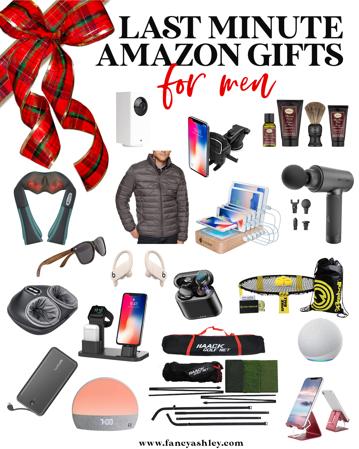 Last Minute Gifts from Amazon by popular Houston life and style blog, Fancy Ashley: collage image of a neck massager, puffer jacket, sunglasses, bose ear buds, foot massager, portable charger, phone stand, beard grooming set, spike ball, charging station, airpods, haack golf net, hatch alarm clock, and massager gun.