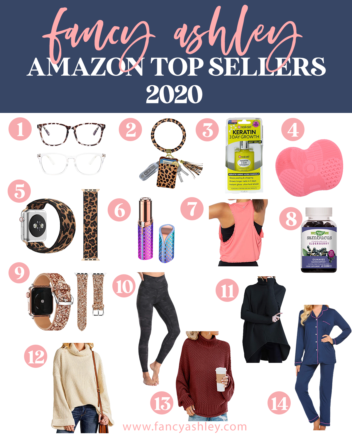 Top Amazon Products by popular Houston life and style blog, Fancy Ashely: collage image of Amazon blue light glasses, leopard print key ring, silicone brush cleaning pad, leopard print apple watch band, racer back workout tank, gold glitter smart watch band, black leggings, black turtleneck tunic sweater, tan bell sleeve knit sweater, blue pajama set, maroon long sleeve turtleneck sweater, Nail-Aid Keratin 3 day growth, Sambucus elderberry gummies, and a mermaid FINISHING TOUCH Flawless Women's Painless Hair Remover.