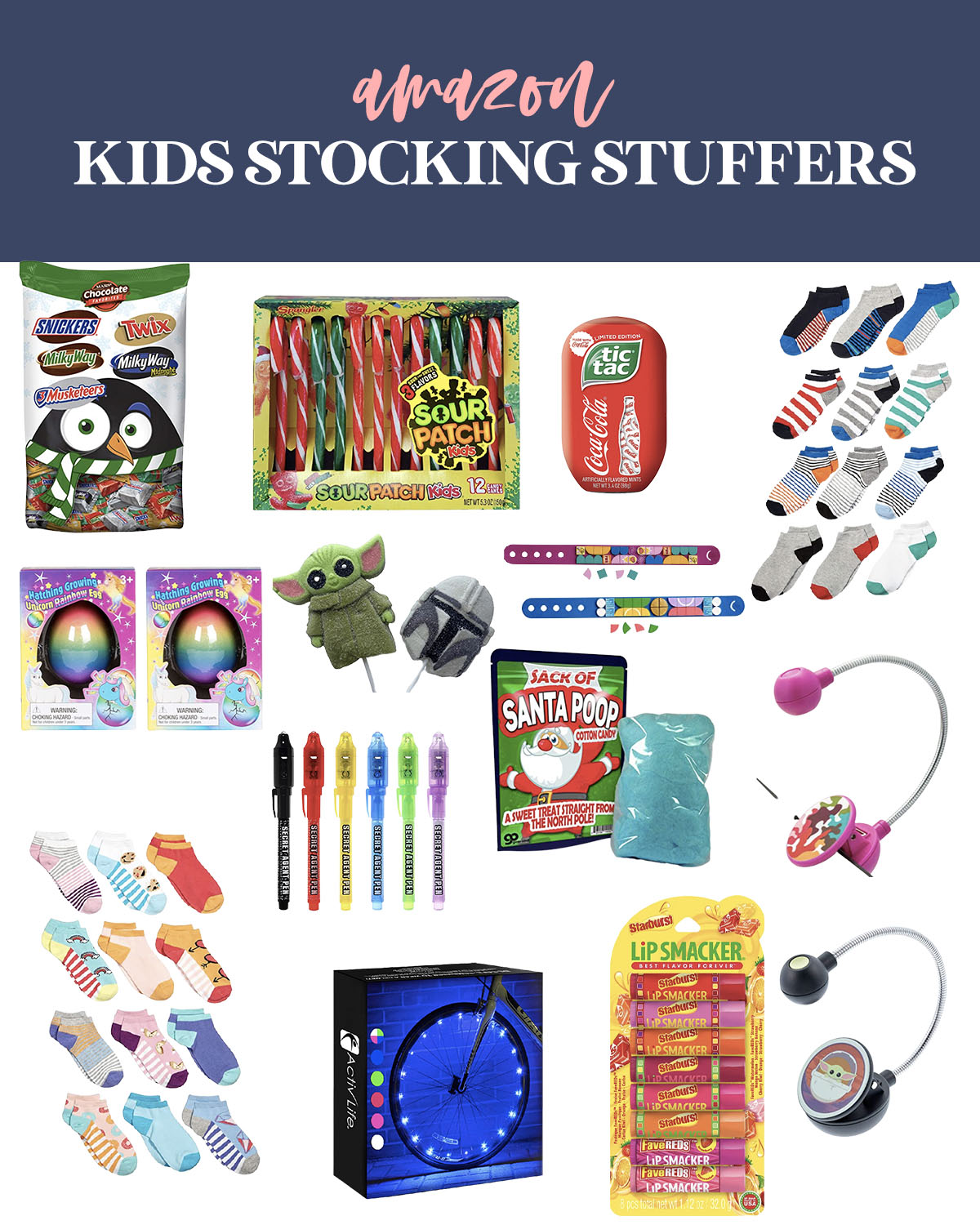 Stocking Stuffers from Amazon by popular Houston life and style blog, Fancy Ashley: collage image of crazy socks, sour patch candy canes, Santa Poop, book lights, bike tire lights, fun size candy bar bag, lip smacker set, tic-tacs, secret agent pen, and unicorn rainbow egg.