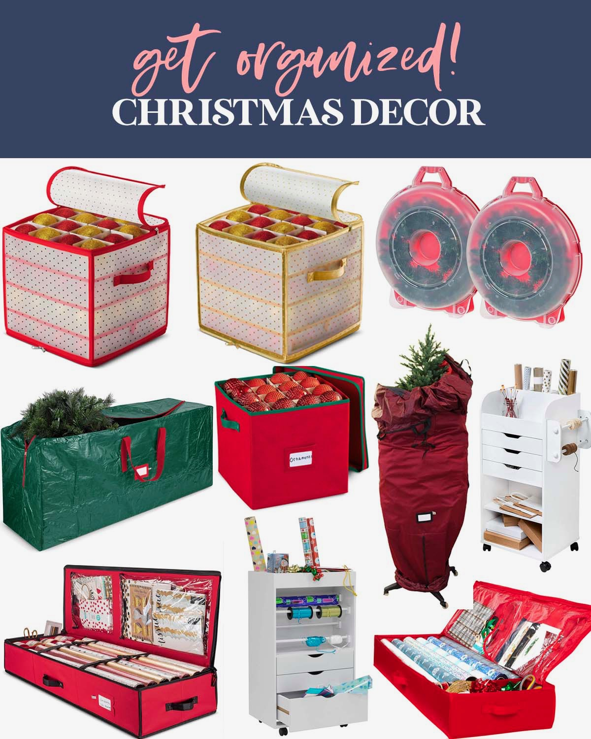 After Christmas Organization by popular Houston lifestyle blog, Fancy Ashley: collage image of a Christmas tree storage bag, ornament storage bins, wrapping paper caddy, wrapping paper storage boxes, and wreath boxes.