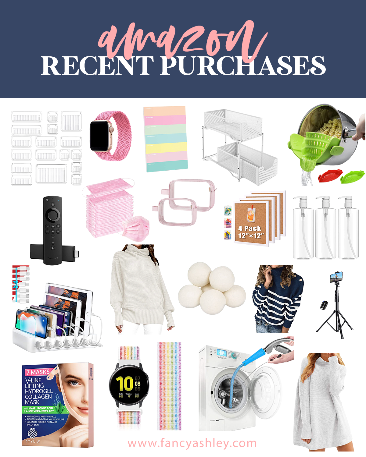 Amazon Purchases by popular Houston life and style blog, Fancy Ashley: collage image of acrylic storage containers, dryer balls, clear spray bottles, pasta strainer, camera tripod, apple watch, acrylic smartphone and smartpad charging station, blue and white sweater, grey turtleneck sweater, grey tunic sweater, cork boards, Amazon fire stick, rainbow watch band, white metal organizing bins, dryer vent cleaner, Hydrogel mask, and clear storage bags.