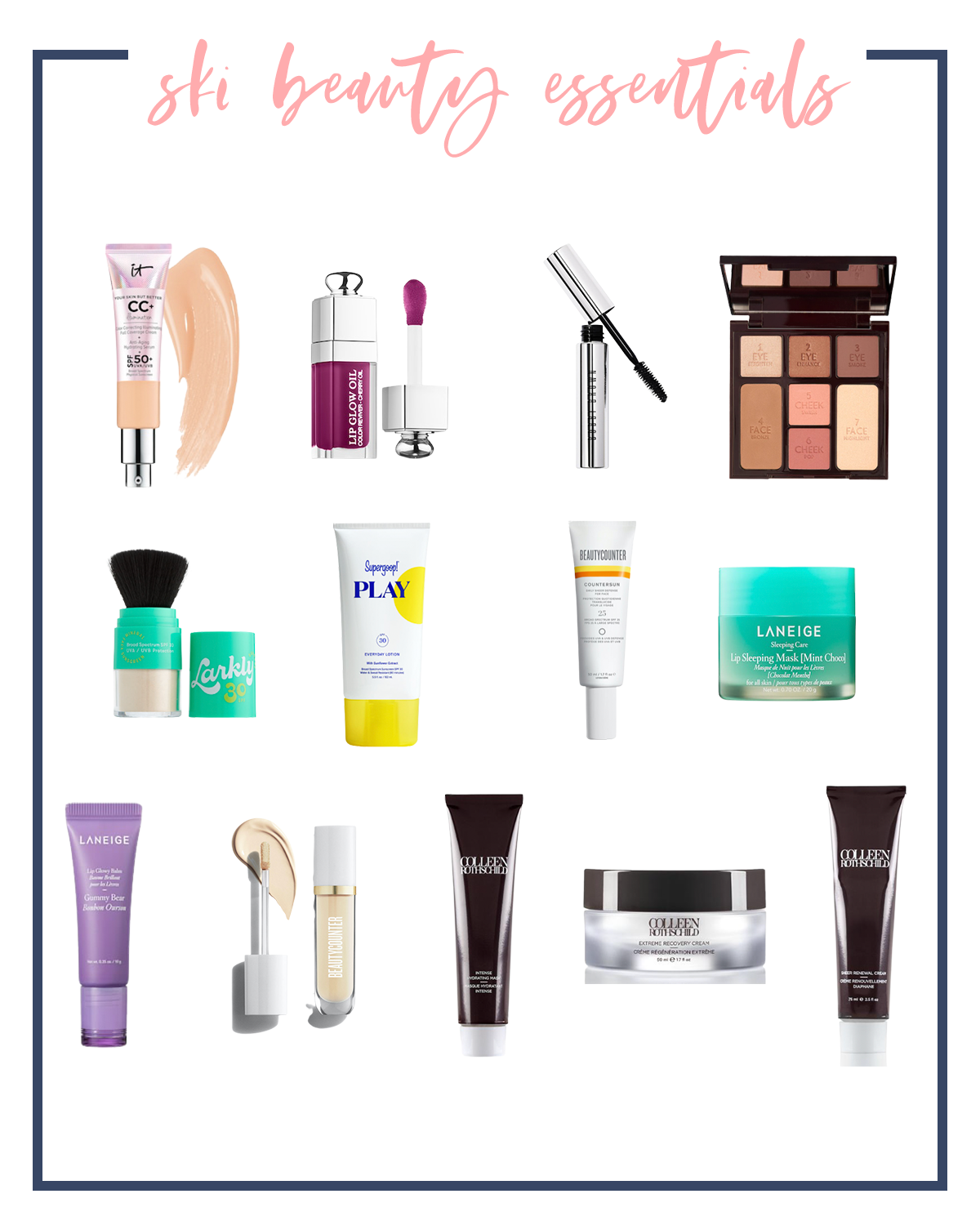 Beauty Essentials by popular Houston fashion blog, Fancy Ashley: collage image of it Cosmetics cc cream, lip oil, mascara, eyeshadow pallet, supergoop! play, Laneige lip mask, Beauty Countery sunscreen, Lanky SPF face powder, and Colleen Rothschild beauty products.