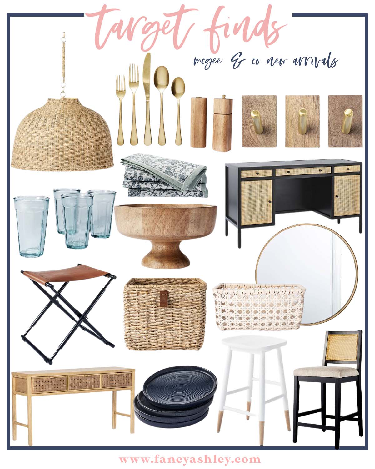 McGee & Co by popular Houston life and style blog, Fancy Ashley: collage image of McGee & Co blue glasses, McGee & Co gold flatware, McGee & Co gold and wood wall hooks, McGee and Co round mirror, McGee & Co, floral print cloth napkins, McGee & Co blue stool, McGee & Co wooden salt and pepper grinders, McGee & Co white wicker basket, McGee & Co wooden bowl, McGee & Co black plates, McGee & Co black stool, McGee & Co console table, McGee & Co wicker pendant light, and McGee & Co leather seat.
