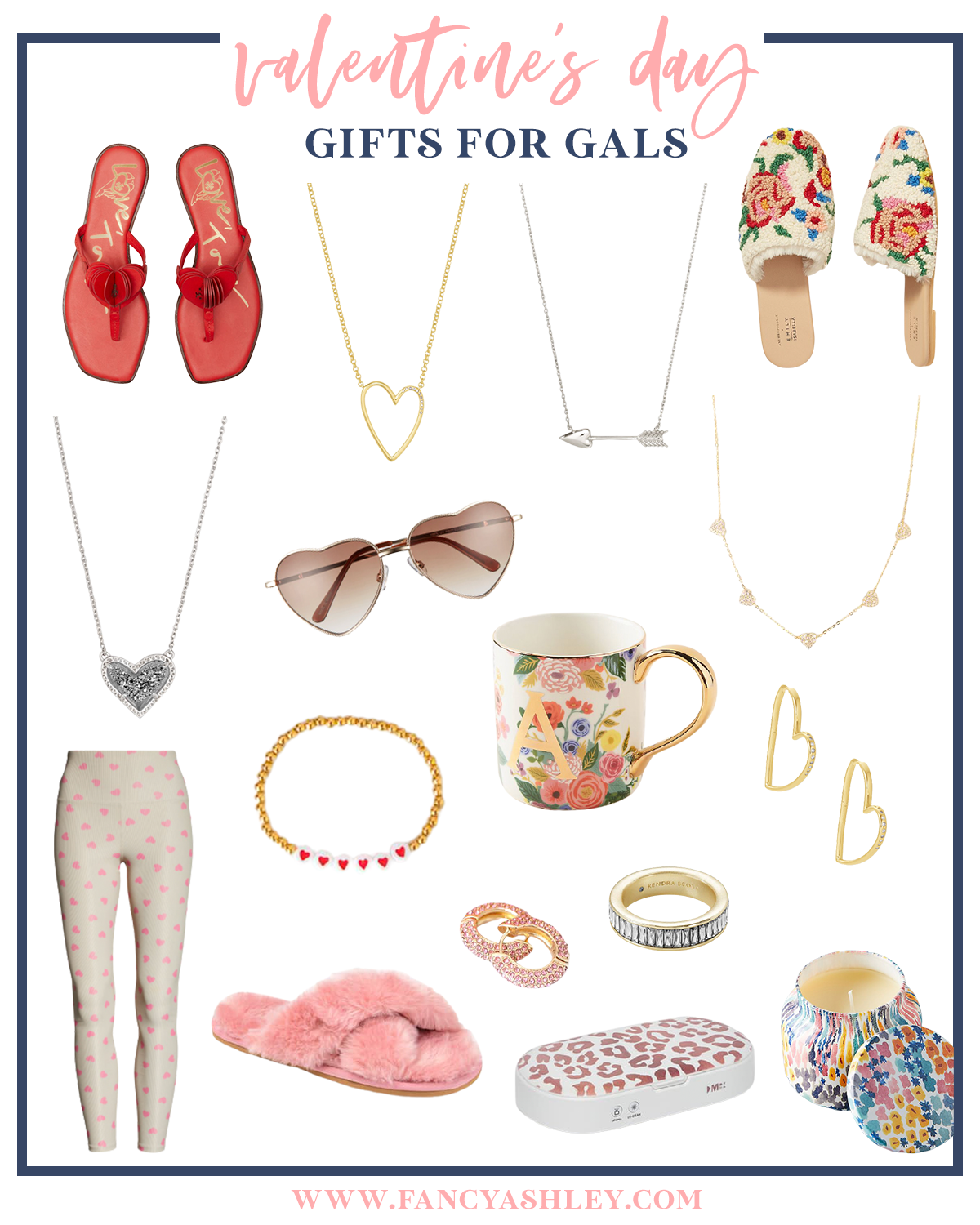 Valentine's Day Gift Ideas by popular Houston life and style blog, Fancy Ashley: collage image of red flip flop sandals, heart frame sunglasses, monogram floral print mug, heart hoop earrings, gold and heart bead bracelet, cz ring, pink fuzzy slippers, heart pendant necklace, arrow necklace, gold heart necklace, pink cz hoop earrings, candle, floral print mules, heart print leggings, and uv light sanitzer.