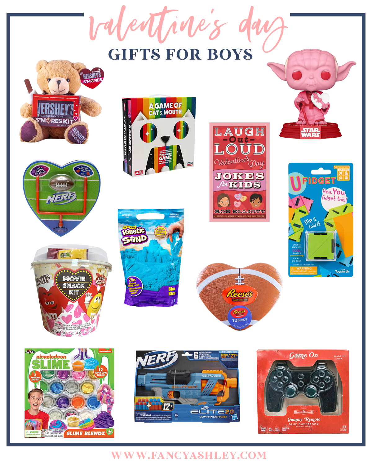 Valentine's Day Gift Ideas for Kids by popular Houston life and style blog, Fancy Ashley: collage image of a a stuffed Hershey bear, Laugh out Loud jokes for kids, gummy game controller, slime kit, Nerf gun, A Game of Cat and Mouth, mini Nerf football set, M&M's movie snack kit, kinetic sand, Yoda bobble head, U fidget, and Reese's heart shaped football candy.