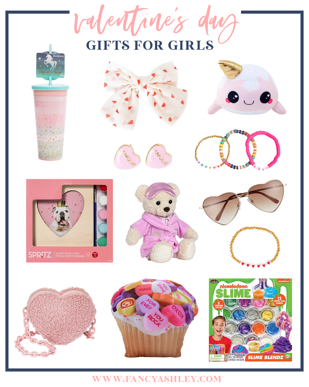 Valentine's Day Gift Ideas for Kids by popular Houston life and style blog, Fancy Ashley: collage image of a white and red heart print bow, rainbow bead bracelets, heart shaped sunglasses, heart shaped purse, slime kit, unicorn tumbler, Spritz heart frame paint kit, gold and heart beat stretch bracelet, candy heart cupcake pillow, heart earrings, and stuffed narwhal.