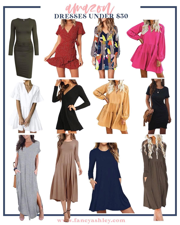 Amazon Dresses Under $30 by popular Houston fashion blog, Fancy Ashley: collage image of Amazon dresses.