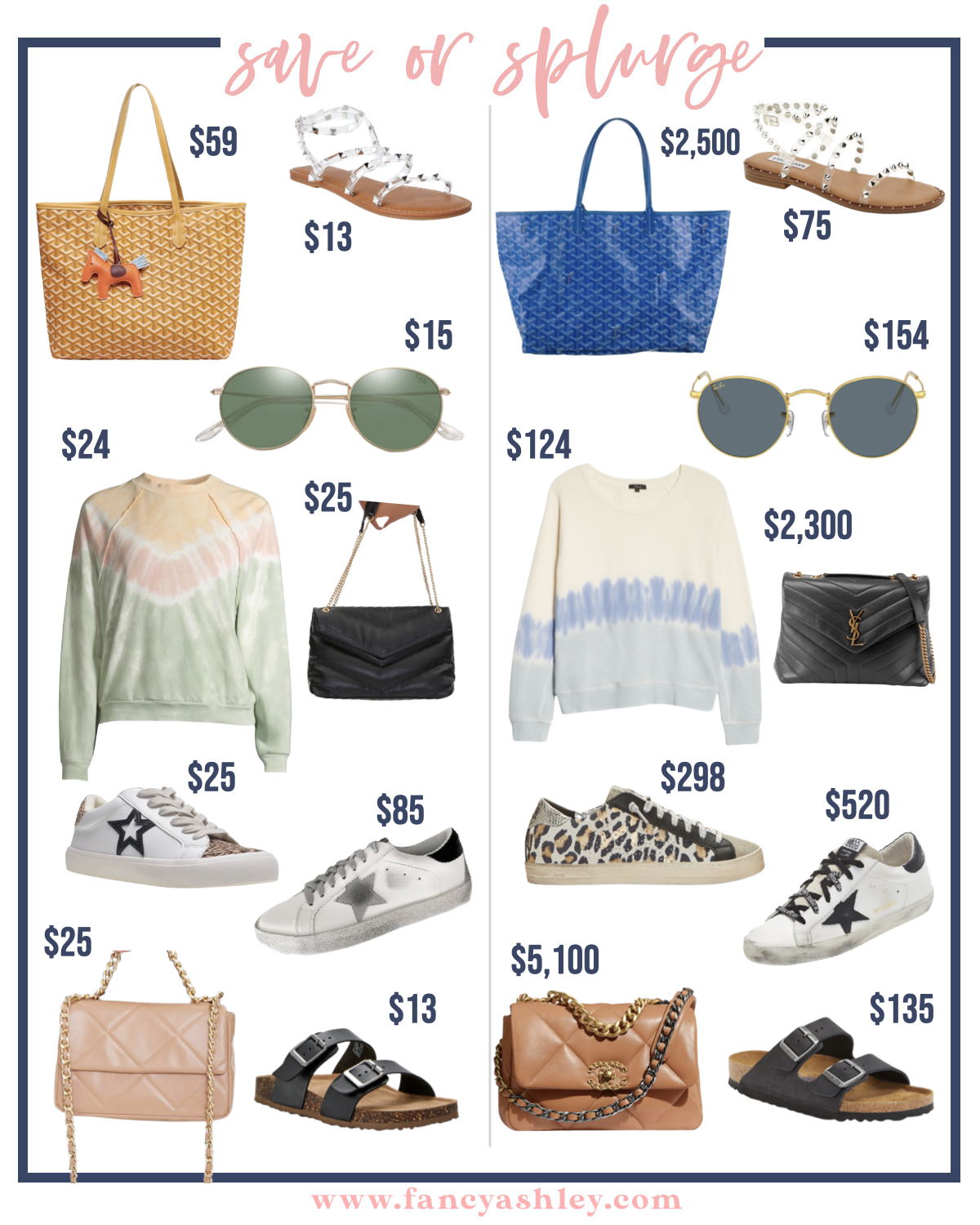 Save or Splurge by popular Houston fashion blog, Fancy Ashley: collage image of a woven bag, tie dye sweatshirts, clear strap studded sandals, aviator sunglasses, black and gold chain purse, white star print sneakers, leopard print sneakers, brown and gold chain purse, black strap slide sandals.
