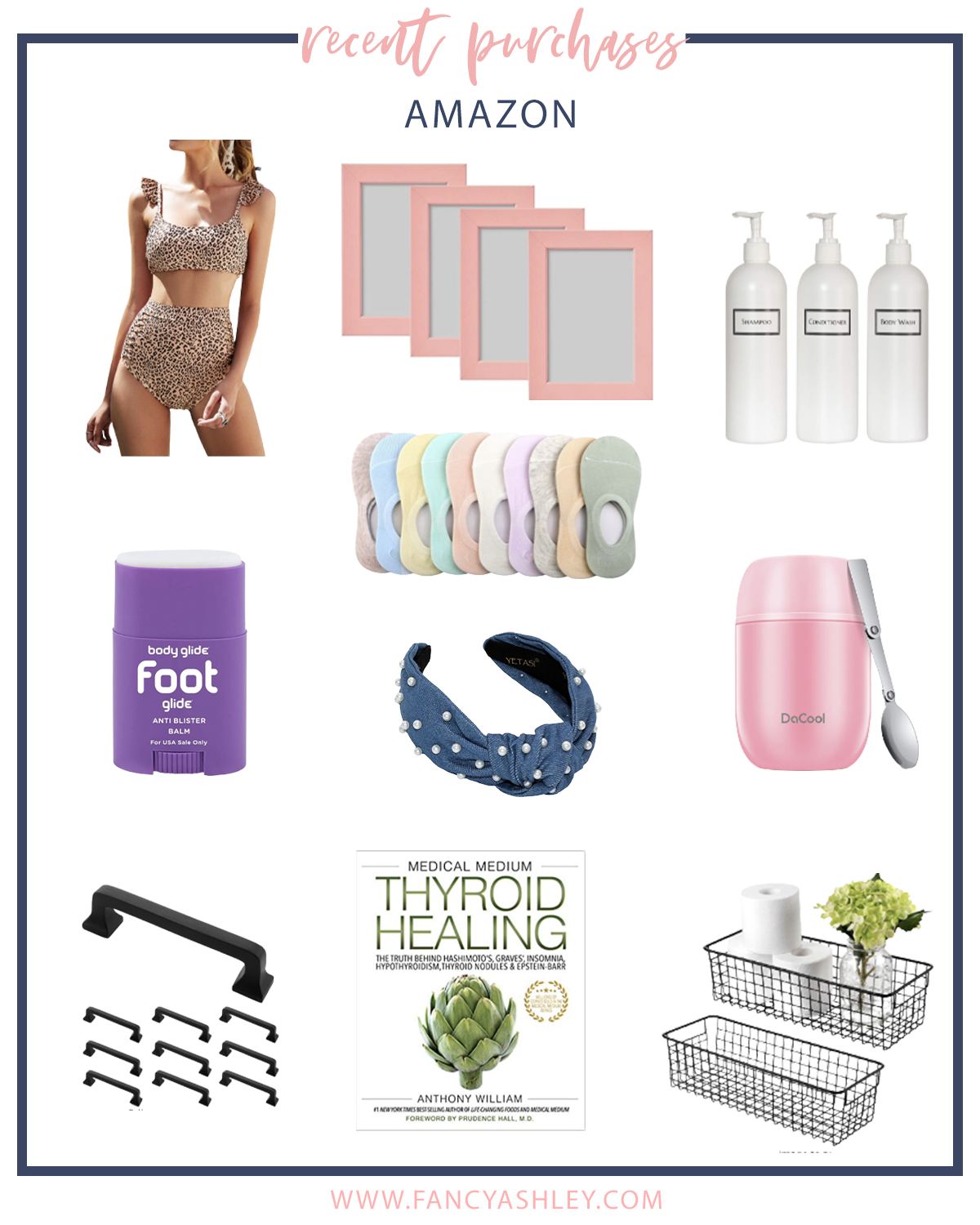 Recent Amazon Purchases by popular Houston fashion blog, The House of Fancy: collage image of a leopard print two piece swimsuit, pink picture frames, pearl knot headbands, drawer pulls, thyroid healing books, black metal wire baskets, travel spoon, crew socks, shampoo bottle set, foot glide stick, and insulated lunch container.