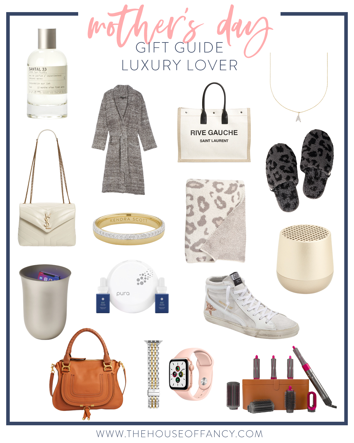 Mother's Day Gift Ideas by popular Houston life and style blog, The House of Fancy: collage image of leopard print blanket, UV sanitizer, brown saddle bag, Dyson curling wand, apple watch band, leopard print slippers, Rive Gauche bag, initial necklace, Golden Goose sneakers, and a bluetooth speaker.