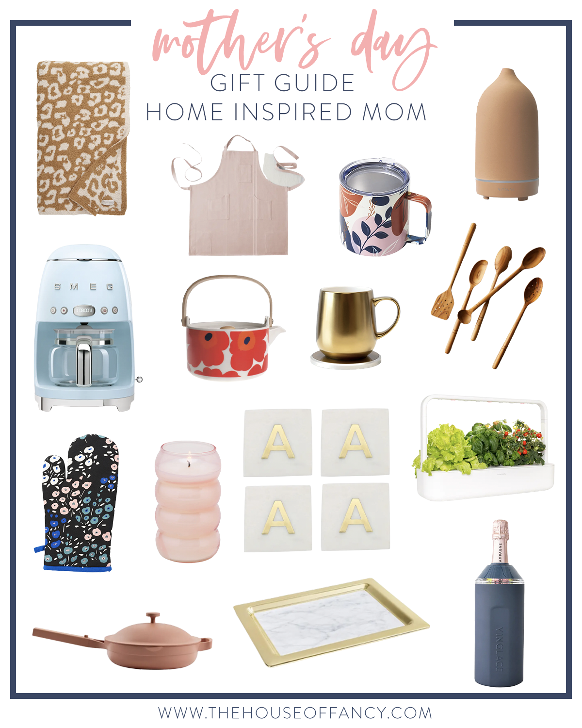 Mother's Day Gift Ideas by popular Houston life and style blog, The House of Fancy: collage image of a leopard print bracelet, oven mit, Always pan, monogram coasters, coffee maker, apron, mug warmer, kitchen utensils, and gold serving tray.