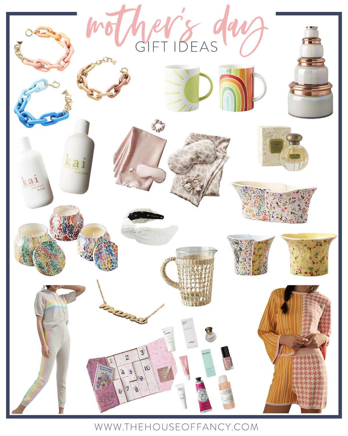 Mother's Day Gift Ideas by popular Houston life and style blog, The House of Fancy: collage image of chainlink bracelets, ceramic pots, pj sets, beauty advent calendar, perfume, water pitcher, rainbow and sunshine mug, knot headband, candles, and mama necklace.