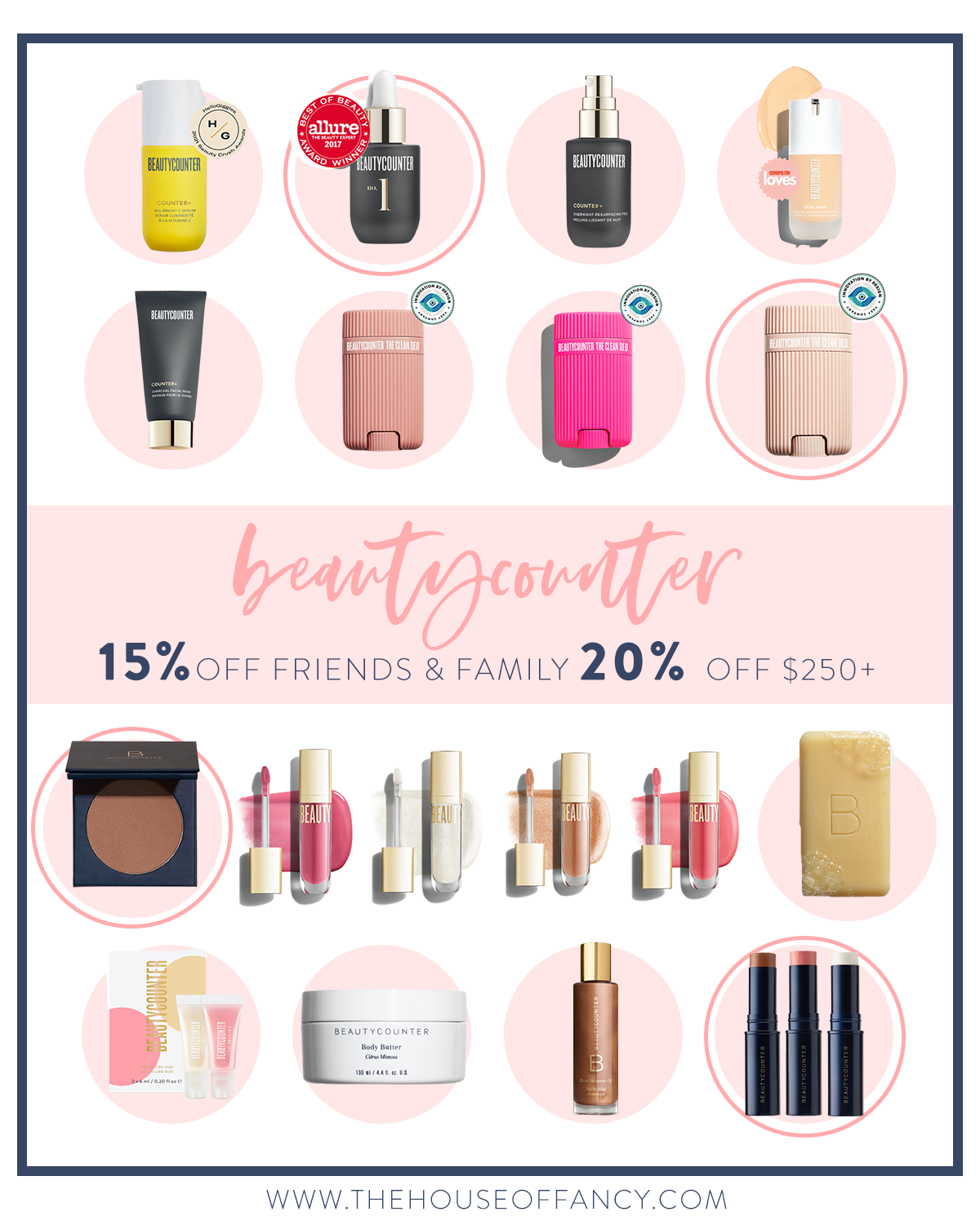 Beautycounter Friends and Family Sale by popular Houston beauty blog, The House of Fancy: collage image of lip glosses, bronzer, soap, foundation, lipstick, and skincare products.